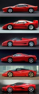 Evolution of the Ferrari LaFerrari hypercar, from a 288GTO
