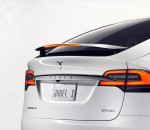 Tesla Model X with active rear spoiler.